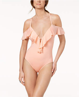 Kenneth Cole Ready to Ruffle Off-The-Shoulder One-Piece Swimsuit Women's Swimsuit