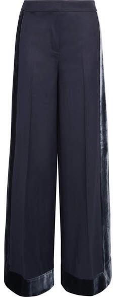 J.Crew - Laney Velvet-trimmed Wool Wide-leg Pants - Navy