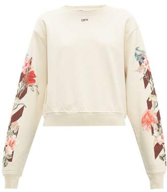 Off-White Off White Floral And Logo Print Cotton Jersey Sweatshirt - Womens - Cream Multi