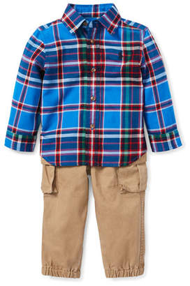 Ralph Lauren Collar Plaid Shirt w/ Twill Pants, Size 6-24 Months