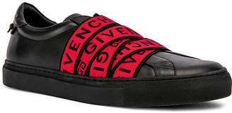 Givenchy Logo Webbing Street Sneaker in Black & Red | FWRD