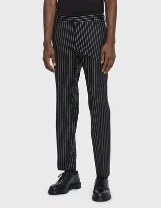 Dries Van Noten Striped Wool Trouser in Black