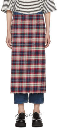 R 13 Red and Blue Plaid Long Square Apron Skirt