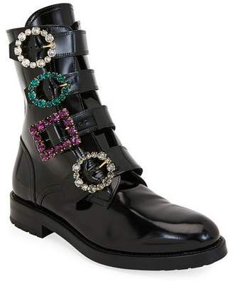 Dolce & Gabbana Flat Patent Booties with Crystal Buckles