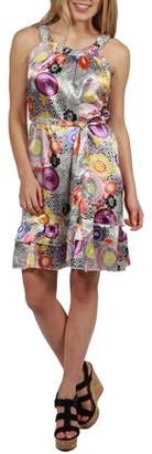 24/7 Comfort Apparel 24Seven Comfort Apparel Laila Silky Retro Print Dress