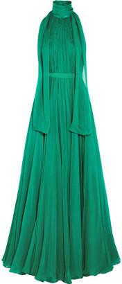 Alexander McQueen - Crinkled Silk-chiffon Halterneck Gown - Jade $5,995 thestylecure.com
