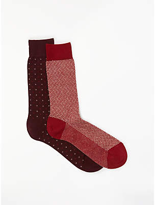 John Lewis & Partners Made in Italy Cotton Cashmere Print Socks, Pack of 2, Burgundy/Red