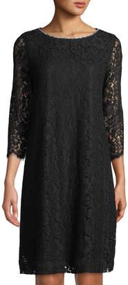 Karl Lagerfeld Paris 3/4-Sleeve Lace Shift Dress