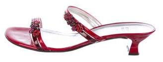 Stuart Weitzman Patent Leather Embellished Slide Sandals