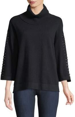 Neiman Marcus Cashmere Embellished-Sleeve Sweater