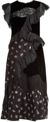 REBECCA TAYLOR Round-neck patchwork floral fil coupé dress