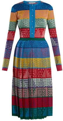 Mary Katrantzou Cecile Striped Wool Knit Midi Dress - Womens - Multi
