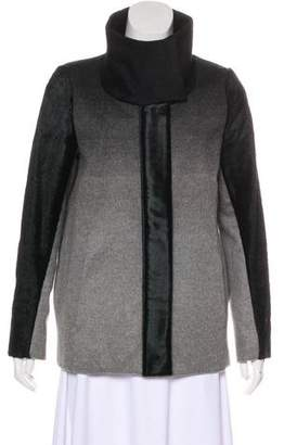 Helmut Lang Pony Hair-Trimmed Wool Jacket