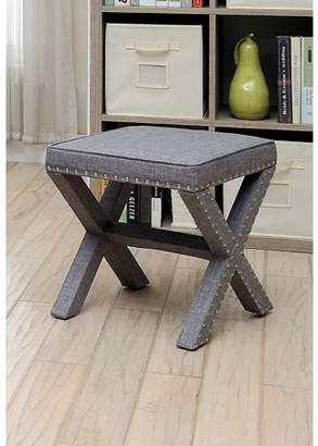 Furniture of America Tarino Gray Faux Linen Nailhead Ottoman