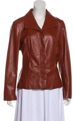 Chanel Leather Button-Up Jacket