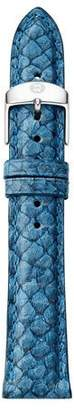 Michele 16mm Fish Skin Watch Strap, Blue