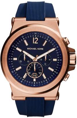 Michael Kors Dylan Rose Gold Stainless Steel Blue Silicone Strap Gents Watch