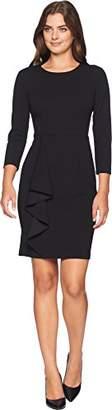 Donna Morgan Women's Crepe Sheath Dress with Draped Ruffle Skirt