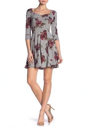 BE BOP Sweetheart Neckline Floral 3\u002F4 Length Sleeve Dress