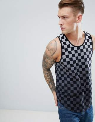 Hollister Ombre Checkerboard Tank Seagull Logo in Black to Gray