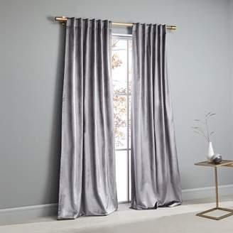 west elm Cotton Luster Velvet Curtain - Pewter