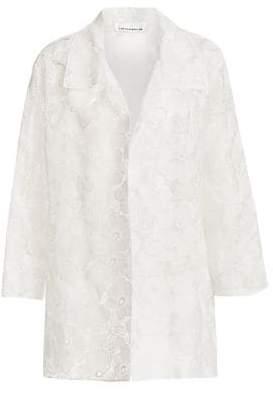 Caroline Rose Plus Floral Jacquard A-Line Jacket
