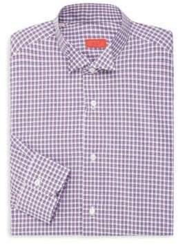 Isaia Wingtip Collar Check Dress Shirt