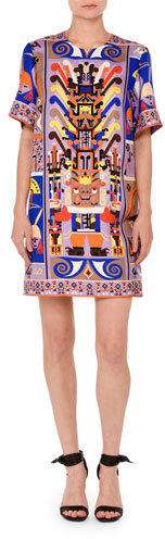 Emilio Pucci Emilio Pucci Printed Short-Sleeve Shift Dress, Purple/Blue