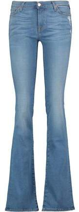 Mid-Rise Crystal-Embellished Distressed Bootcut Jeans