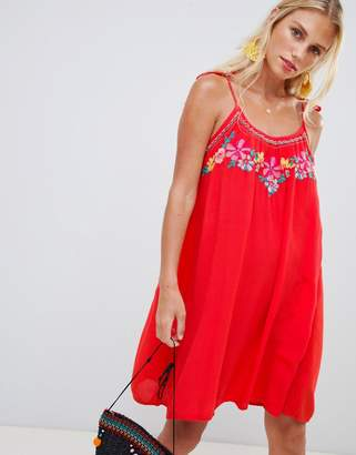 Accessorize hot house embroidered beach dress red