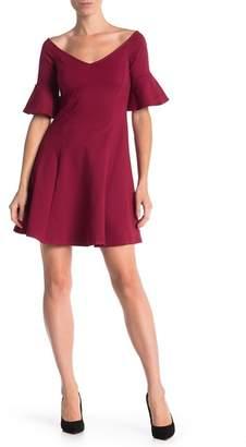 Vanity Room Solid V-Neck Fit & Flare Dress