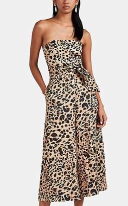Zimmermann Women's Honour Leopard-Print Linen Strapless Jumpsuit
