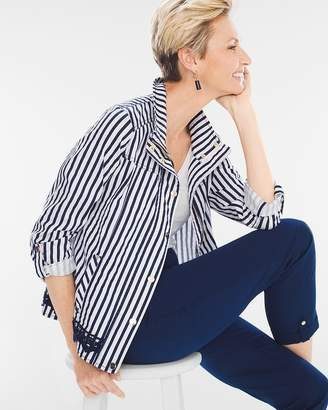 Luxe Twill Striped Utility Jacket
