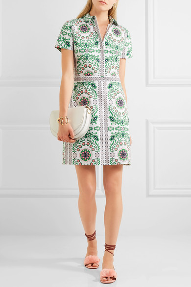 Tory Burch - Port Printed Cotton-blend Mini Dress - Green 2