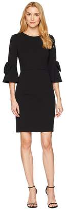 Donna Morgan 3/4 Bell Sleeve Crepe Shift Dress w/ Bow Detail at Wrist Women's Dress