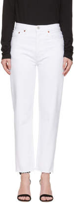 RE/DONE White Originals High-Rise Stove Pipe Jeans