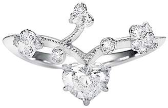 Kataoka Heart Diamond Vine Ring - White Gold
