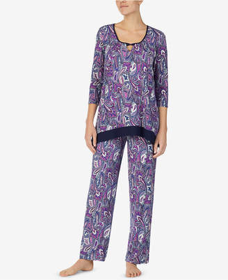 Ellen Tracy Printed Keyhole Pajama Top