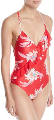 Seafolly Desert Flower Cross-Back Ruffle One-Piece Swimsuit