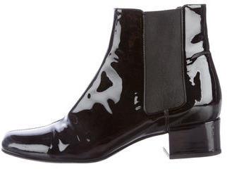 Saint LaurentSaint Laurent Patent Leather Round-Toe Ankle Boots
