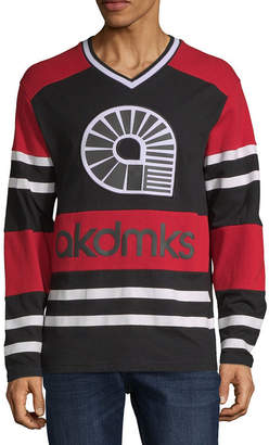 Akademiks Mens V Neck Long Sleeve Jersey