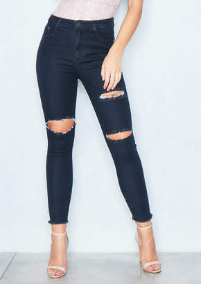 Ever New Danni Black Distressed Ripped Knee Jeans