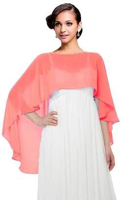 Baiqiya Wedding Capes Womens Soft Chiffon Shrug Bridal Long Shawl and Wraps