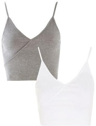 Topshop **wrap crop top multipack