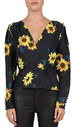 The Kooples Sunflower-Print Crossover Blouse