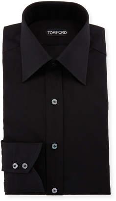 Tom Ford Classic Barrel Cuff Dress Shirt, Black