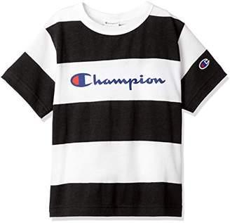 Champion (チャンピオン) - [チャンピオン] ボーダーロゴTシャツ CS4552 ボーイズ ブラック 日本 130 (日本サイズ130 相当)