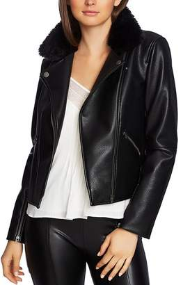 1 STATE 1.STATE Pebbled Faux Leather Moto Jacket