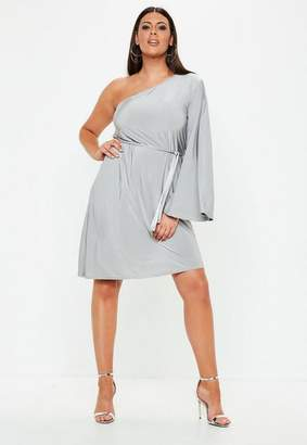 Missguided Curve Grey Flared One Sleeve Belted Dress, Grey