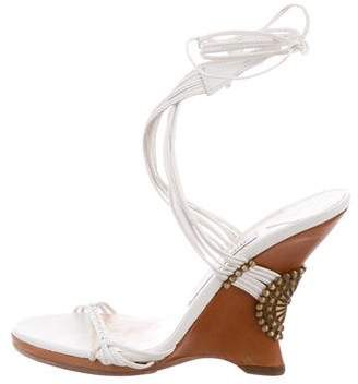 Jimmy Choo Metallic Leather Wedges